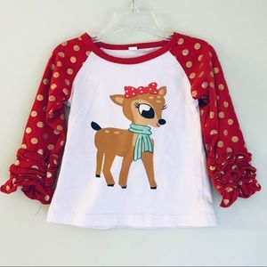 Other - Rudolph Christmas Ruffle Arm Shirt for Baby Girl